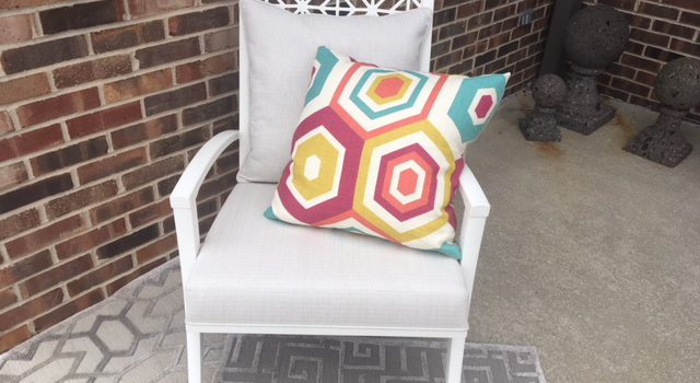 JWI Decor White Chair and Colorful Pillow